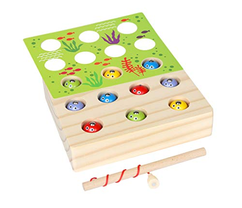 Yx-outdoor Juego de pesca de madera de juguete,1 2 3 años de edad bebé de la mano del cerebro y la coordinación de la resistencia del ejercicio Juego,Montessori juguete de pesca magnético