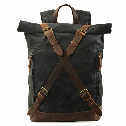 WUDON Travel Backpack for Men - Leather-Waxed Canvas Shoulder Rucksack, Waterproof Roll Top Mountaineering Bag, Large Bag For Travel, School, University & More (Black)