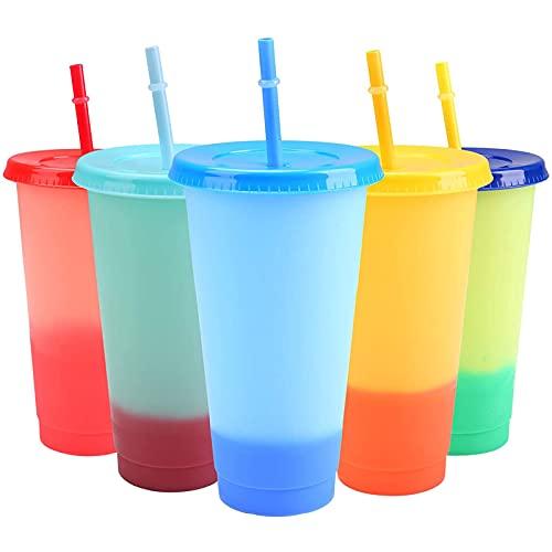 LQKYWNA Bicchiere in Plastica Riutilizzabile con Coperchio E Cannuccia da 710 Ml, 5 Colori, Set di 5 Bicchieri A Colori Variabili