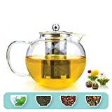 Tetwin 1500ml Glass Teapot with Stainless Steel Infuser for Loose Tea, Stovetop Safe