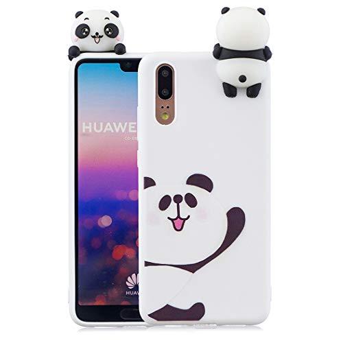 EuCase Coque Huawei P20 Silicone Blanc Housse Etui Huawei P20 Antichoc Mignon 3D Cartoon Dessin Animaux Ultra Mince Fine Souple TPU Case Protection Bumper Case Cover Ours Blanc