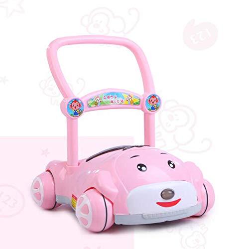 7-18 Meses Niños Andador De Empuje Anti-Rollover Velocidad Ajustable Bebé Aprendizaje Caminar Caminar Coche Con Carrito De La Música Incorporado Aumento De Peso Instrumento Coche De Juguete,Pink