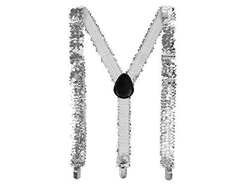 Alsino Pailletten Hosenträger bunt Glitzer mit 3-Clips Y-Form, Variante wählen:PHO-01 Silber
