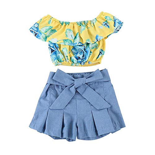 Kids Baby Girls Outfits Floral Ruffle Off Shoulder Crop Tops + Bowknot Denim Shorts Skirt Set Toddler Summer Clothes (5-6 Years, Blue)