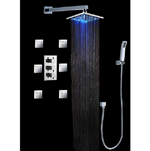 Best Bargain Cascada Luxury Bathroom Shower Set with Luxury 12 Water Power LED Shower Head (Wall Mo...