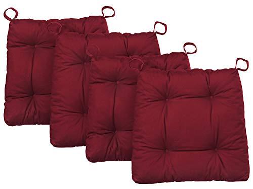 Traumnacht Stuhlkissen Premium 4er Set, mit einem Baumwollbezug, 38 x 40 x 7 cm, rot