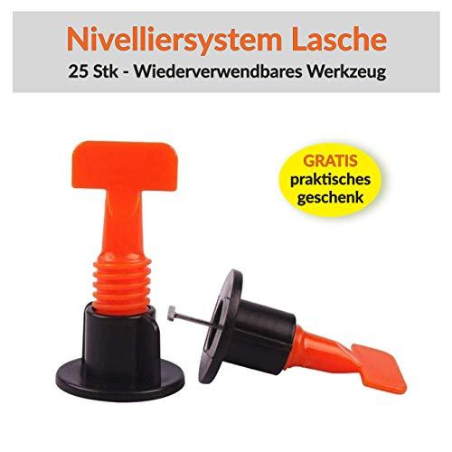 Zuglaschen Wiederverwendbares Nivelliersystem Verlegen Fliesen Nivellierhilfe Levello 1,5-5 mm Verlegehilfe für Fliesen Höhe 3-18 mm, 25 Stück Twist Laschen