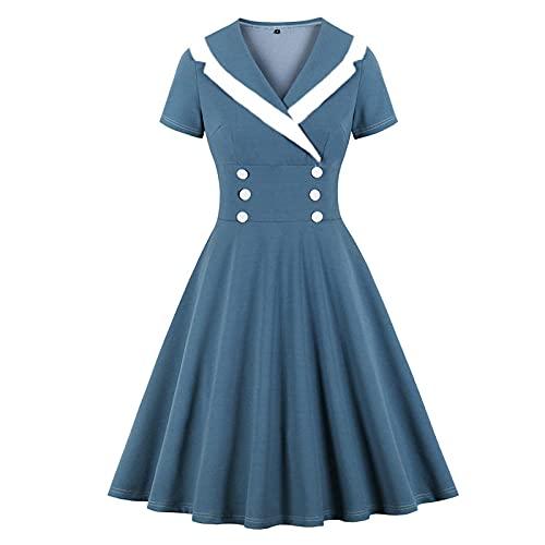 YLDCN Vestidos De Cóctel para Mujer Vestido Retro De Verano De Cintura Alta con Doble Botonadura Vintage para Mujer-Grey_Blue_XL