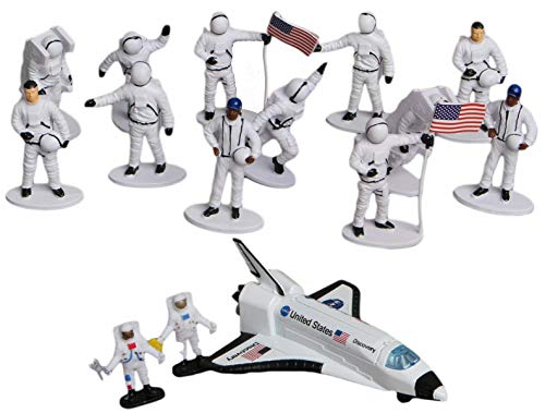 5.5 Inch Pull Back Light and Sounds Space Shuttle Toy with Astronaut Figures Bundle (15 Pieces)