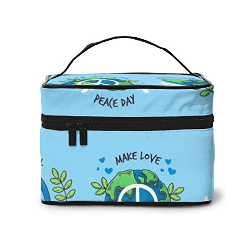 Travel Makeup Cosmetic Bags Girl Toiletry Bags Makeup Hand Drawn Peace Day Badge Collection