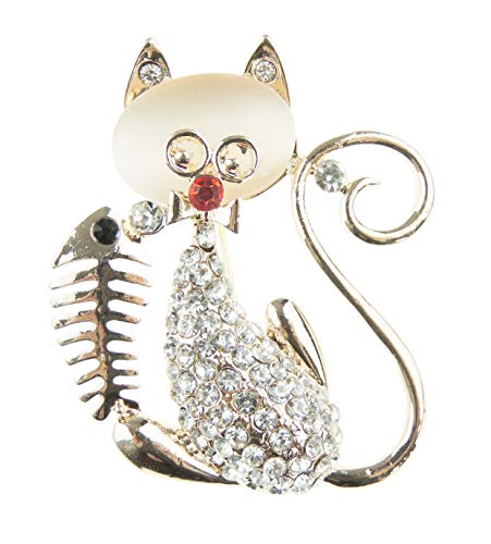 Glamour Girlz super schattig diamante kristal steen zitten Kitty kat & vis botten rode neus revers broche rose toon