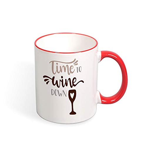 DKISEE Time To Wine Down Color Coffee Mug Novelty 11oz Ceramic Mug Cup Birthday Christmas Anniversary Gag Gifts Idea - Red