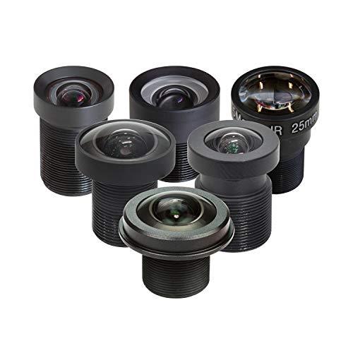 Arducam M12 Objektiv-Set für Raspberry Pi HQ Kamera (Typ 1/2.3), 20 bis 180 Grad Teleobjektiv, Weitwinkel, Fischaugenobjektive mit M12 auf CS-Mount Adapter, Sicherungsring, Reinigungstuch und mehr