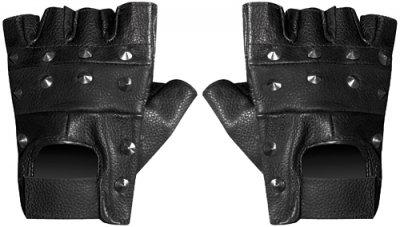 Fingerlose Nieten-Handschuhe, 100% Leder US-Army - Metallnieten - Schwarz - Größe M - Airsoft - Paintball - Outdoor - Motorrad - Fahren - Biker