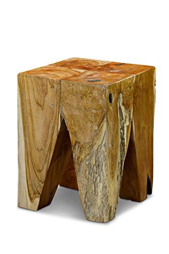 Kinaree teak massief houten bijzettafel ARU - geschikt als podium, bloemenstandaard of nachtkastje voor woonkamer, hal, slaapkamer of ook serre