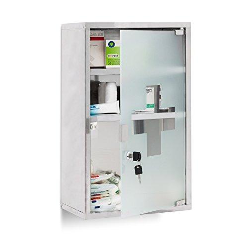 *Relaxdays EMERGENCY Medizinschrank XL extra tief aus Edelstahl HxBxT: ca. 50,5 x 30 x 18 cm mit 3 Fächern und Glas-Tür zum Abschließen mit 2 Schlüsseln für kindersichere Medikamenten-Lagerung, silber*