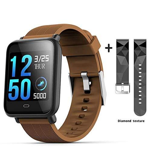 QXYOUNGB sporthorloge TFT-kleur High Definition bloeddruk/zuurstofmonitor hartslagmeter smartwatch stappenteller stopwatch, Koffie