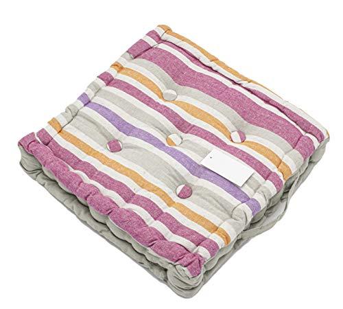 LEYENDAS Set de 4 Cojines, Cojines para Silla de 40 x 40 x 8 cm para Interior y Exterior de 100% algodón cojín Acolchado/cojín para el Suelo (Rayas/Gris, 1)