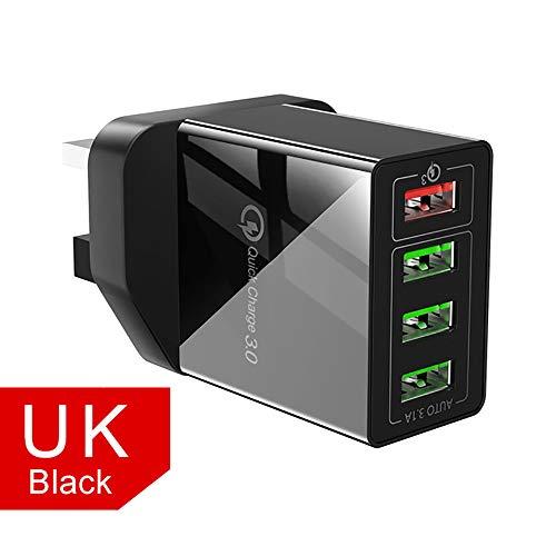 USB-Ladegerät, 4 Port 30W Quick Charge Qc USB 3.0 Hub Wall Charger Travel Adapter Kompatibel Mit Dem iPhone 11 Pro XR XS Max, Galaxy, Ipad Und Mehr,Schwarz,UK