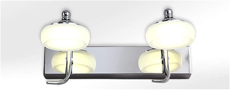 GAODUZI LED Spiegel Scheinwerfer Doppelkopf DREI Kopf Badezimmer Wandleuchte Edelstahl Spiegel Kabinett Licht Spiegellicht (Farbe   Natürliches licht, gre   30cm10w)