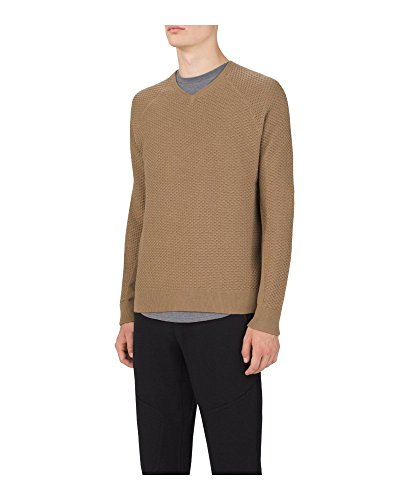 UAS Men's Camel GRIDKNIT L/S Cotton/Cashmere Pullover V-Neck Sweater XXL