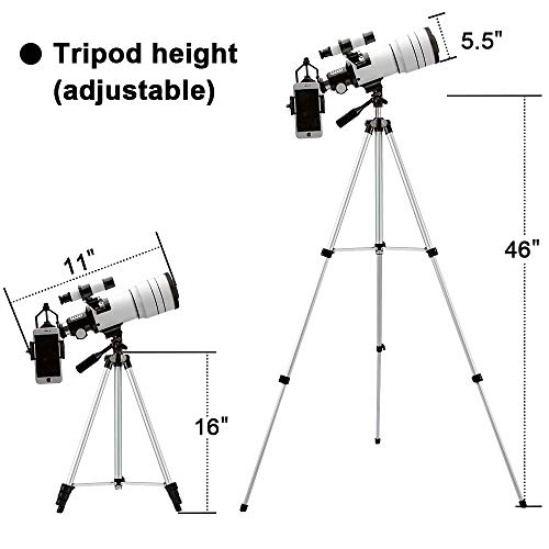4143iWNsrYL - ToyerBee Telescope for Kids &Adults &Beginners,70mm Aperture 300mm Astronomical Refractor Telescope(15X-150X),Portable Travel Telescope with an Adjustable Tripod,A Phone Adapter&A Wireless Remote