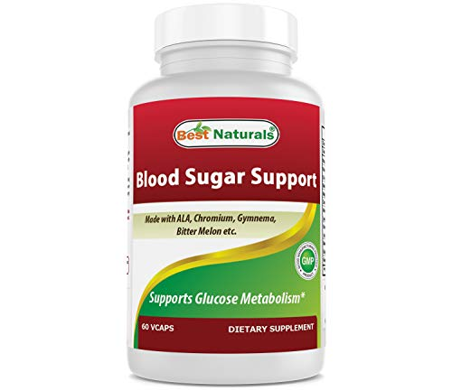 Best Naturals Blood Sugar Support Supplement - Made with Alpha Lipoic Acid, Chromium, & Multiple Herbs & Multivitamin for Blood Sugar Control - 60 Veggie Capsules