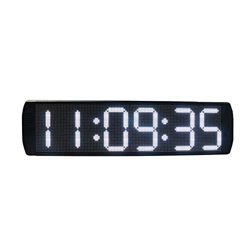 ZhenHe Relojes de alarma LED Digital Digital Grande Reloj solo lado sincronización deporte LED reloj de cuenta atrás temporizador con control remoto IR de control de colores (Color: Negro, Tamaño: 73.