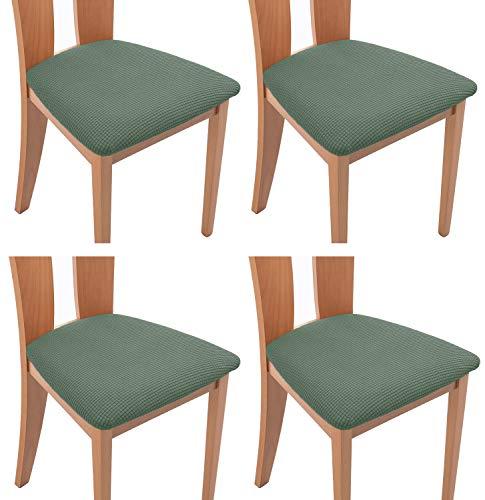 TIANSHU Funda Asiento Silla,Fundas elásticas para Asientos de sillas de Comedor y Oficina Jacquard Poliéster Elástica Fundas sillas Duradera(Paquete de 4,Cian)