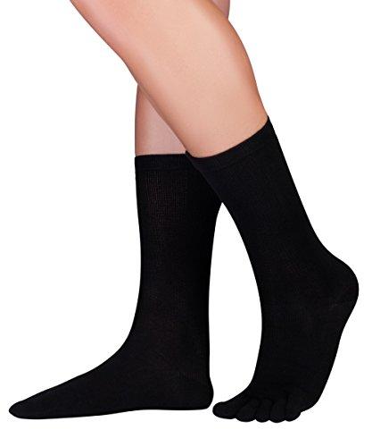 Knitido Dr. Foot® Silver Protect, antimikrobielle wadenlange Zehensocken mit Silberfaser, Größe:39-42, Farbe:Schwarz