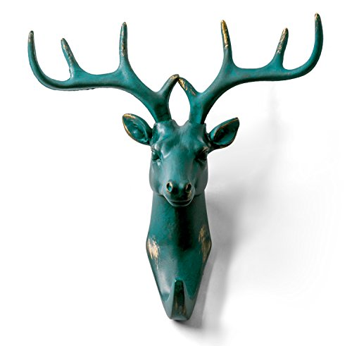 HERNGEE Deer Head Single Wall Hook/Hanger Animal Shaped Coat Hat Hook Heavy Duty, Rustic, Decorative Gift, Rustic Bronze Color