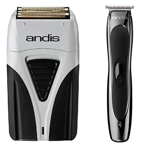 Andis 17200 Profoil Lithium Plus Titanium Foil Shaver, Cord/Cordless & Andis Lithium Slimline Ion Cordless Trimmer Combo