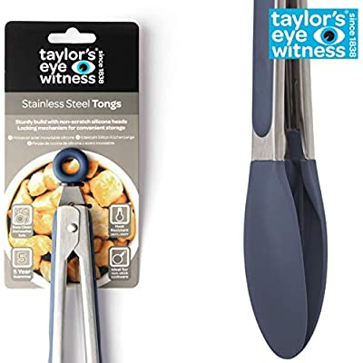 Taylor/'s Eye Witness Luxe Silicone /& Stainless Steel Tongs Marble Effect  23cm