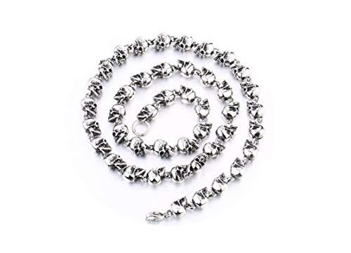 KnBoB Herren Kette Halskette Silber Schädel Kette Punk Kette Halskette Länge 45CM