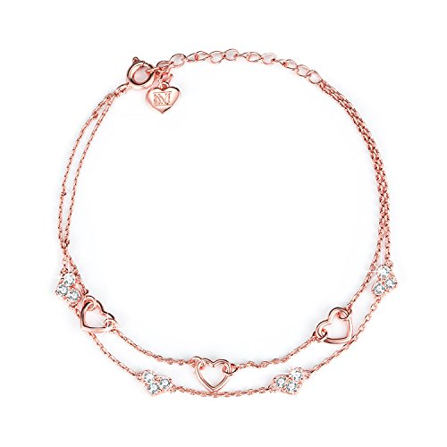 NINAMAID Eternity Love Heart Shaped Cubic Zirconia Pendants Gold Plated Chain Anklet Adjustable Bracelet (Rose Gold)