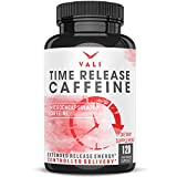 Time Release 100mg Caffeine Pills - 120 Veggie Capsules Microencapsulated for Extended Energy. No Crash Controlled Delivery Brain Booster Supplement for Sustained Mental Performance, Focus & Clarity