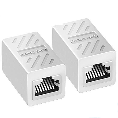 SAIBANGZI 2 stück RJ45 Netzwerkkabel Verbinder Ethernet LAN Kupplung Modular Adapter für Netzwerkkabel, Ethernet Kabel, Patchkabel etc, RJ45 Coupler für Cat6, Cat5e (Weiß)