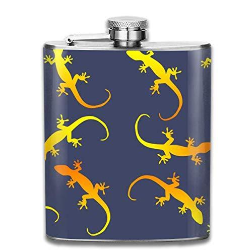gfhfdjhf Eidechsen-Gecko-Party auf dunkelblauem Edelstahl-Flakon, tragbarer Edelstahl-Flakon-Flachmann im Freien, tragbarer Edelstahl-Flakon-Likör-Flakon