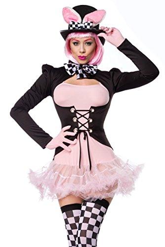Yourdesignerz Schwarz rosa Damen rosa Hase Kostüm aus Kleid Handschuhe, Fliege, Frack, Strümpfe und Hut mit Petticoat und Schnürung M