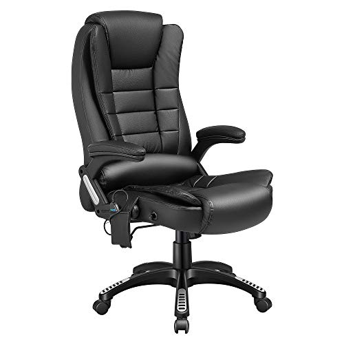 Kealive Massage Office Chair with PU Leather, High Back Ergonomic Heated Office Chair with Lumbar Support Armrest, Adjustable Tilt Angle, Reclining Swivel Vibrating Computer Chair, Black