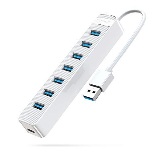 Hub USB 3.0 Alimentato 7-porte ORICO 5Gbps Hub di Rete Con Design a Strisce (Bianco)