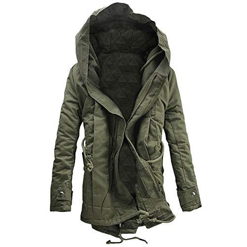Men's Coat, FORUU Winter Warm Hooded Zip Thick Solid Fleece Outwear Wind Jacket Green