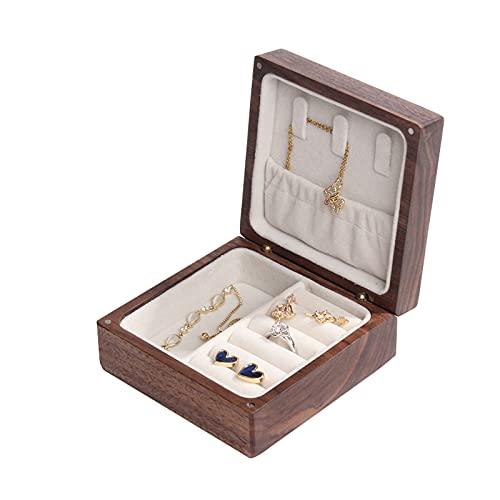 OMYLFQ Caja de Madera Organizador Caja de joyería portátil Caja de joyería de Viaje Gemelos, Anillos, Colgantes, Cadena organizando contenedores de artesanía para Mujeres (Size : Small)