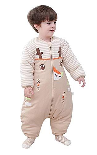 Eastery slaapzak, voor baby's, winter, met benen en mouwen, afneembaar, eenvoudige stijl, pyjama, voor peuters, van katoen, slaapzak, winter, baby-katoen, hert, 2,5 tog, maat L M/H 75-85Cm Sika Deer/2.5 Tog