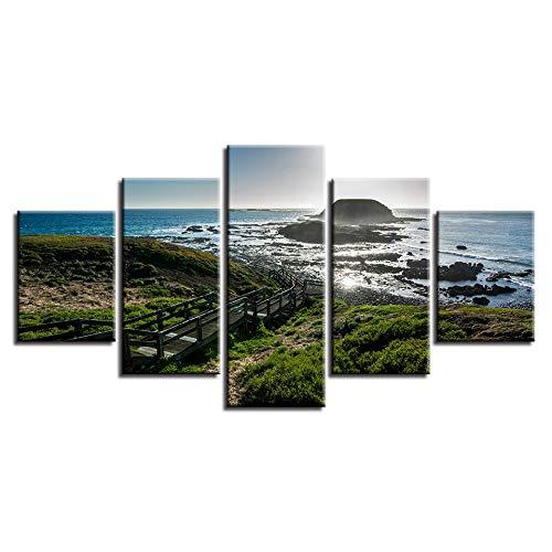 Gdlkss Canvas Picture - 5 Piece -5 Part Panels - Blue sea Prints On Canvas The Picture For Home Modern Decoration Print Decor - 150x80cm