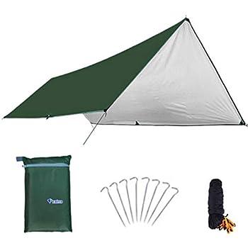 TRIWONDER Tarp Bâche de Tente Camping Imperméable Tapis de Sol Parasol Couverture Abri Protection UV Anti-Pluie pour Hamac Camping en Plein Air (Vert, M - 3 x 5 m)