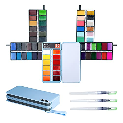 ARTSY Watercolor Paint Set — 60 Premium Colors with 3 Water Brushes in a Velvet Bag— Foldable Portable Watercolor Travel Set Perfect for Artists Adults Beginners Field Sketch Outdoor Painting
