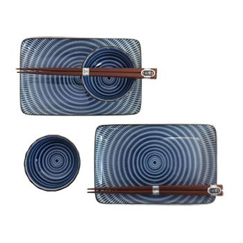 Sendan Colors Navy Blue Sushi For Two Set by Tansu