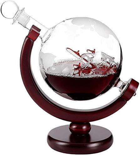 H-ei Alta Boro Silicio Decanter, Mini-Welt Grabado al Globo hodle, Whisky de garrafa con el Soporte for Vodka Aguardiente 800 ml