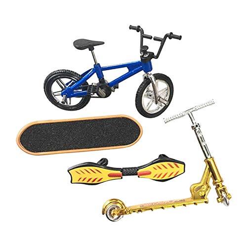 FITYLE 4 Piezas Juguetes Finger Fingerboard Skateboard Bicicleta Scooter pequeño Swing Board, 1: 18 báscula - Un